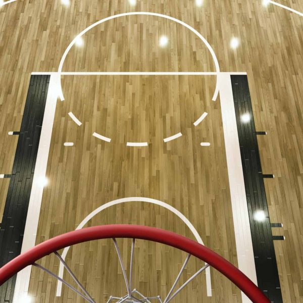 Professional Basketball Arena With Basketball Hoop In 3D. Top View Through The Basketball Hoop