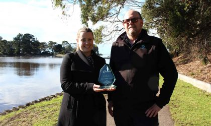 Pictured holding the LG Professionals Environmental Leadership and Sustainability Award for Council's Integrated Council Environmental Plan are Waratah-Wynyard Council Project Manager Dana Hicks and Bill Walker, Waratah-Wynyard Council NRM Officer.
