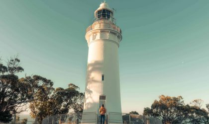 The Table Cape Lighthouse, the only operating lighthouse open for tours in mainland Tasmania. Climb the beautiful spiral staircase up four levels while your guide describes the amazing history of the lighthouse and end with an exhilarating balcony experience and magnificent views.