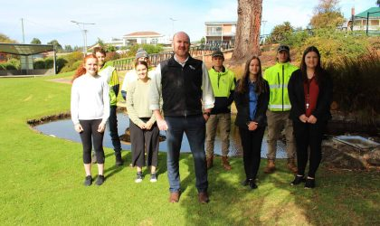 Picture: Waratah-Wynyard Council's General Manager Shane Crawford with employees (from left to right) Lucy Vandenburg, Robert McNeair, Billy Phillips, Amy Bissett,  Jacob Stanley, Teegan Whitehouse, Abraham Shires and Sarah Alderson, who are all undertaking Australian School-based Apprenticeships or traineeships at Waratah-Wynyard Council. More than 20 staff are currently undertaking formal (certificate) traineeships including youth work, civil construction, project management, horticulture and business.