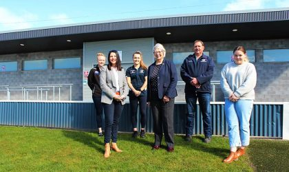 Along with Minister for Sport and Recreation Jane Howlett are (from left to right): Emma Humphries - Wynyard Football Club Senior Women's player; Abbie Hoiberg-Cox  - Wynyard Football Club Senior Women's player; Mary Duniam  - Waratah-Wynyard Deputy Mayor;  Mark Breaden - Wynyard Football Club Vice President; Imogen Beswick - Wynyard and Districts Cricket Club member.