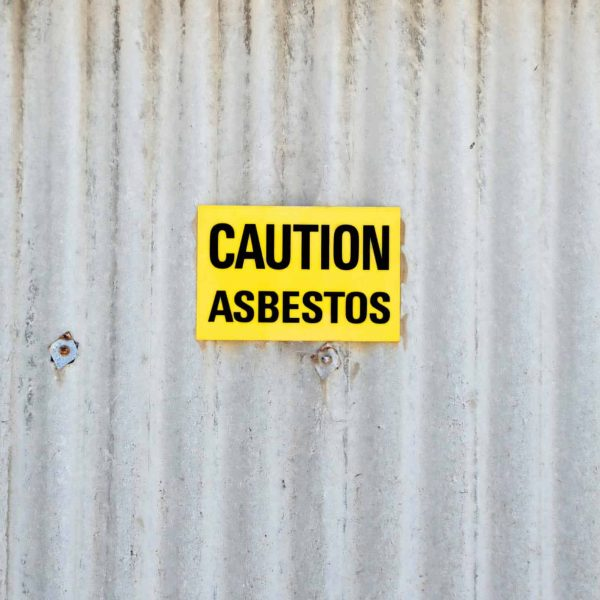 Sign with warning for asbestos